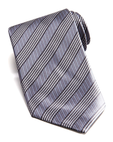 Mixed Stripe Silk Tie, Gray