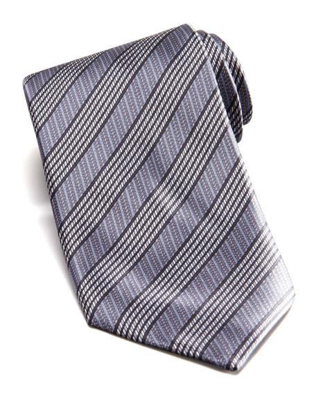 Mixed Stripe Silk Tie, Gray