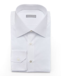 Stefano Ricci Basic Barrel-Cuff Dress Shirt, White