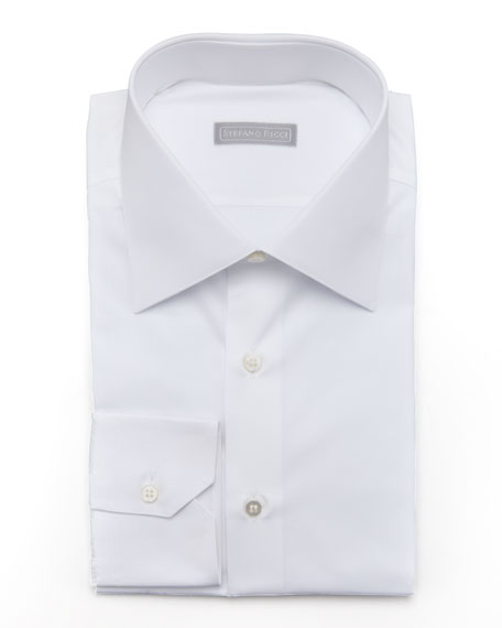 Basic Barrel-Cuff Dress Shirt, White