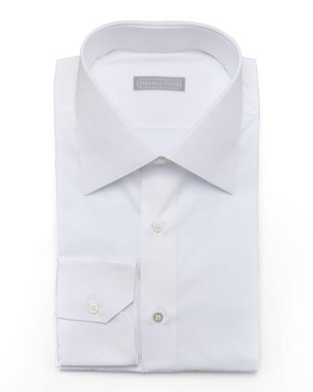 Stefano RicciBasic Barrel-Cuff Dress Shirt, White