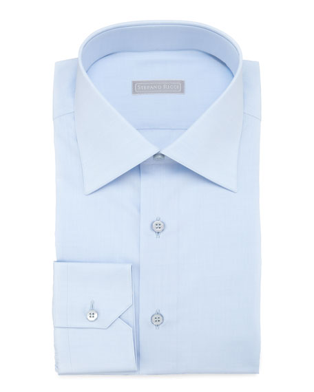 Stefano Ricci Basic Barrel-Cuff Dress Shirt, Blue