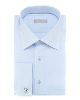 Stefano Ricci Basic French-Cuff Dress Shirt, Blue