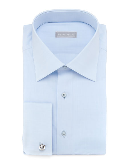 Basic French-Cuff Dress Shirt, Blue