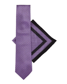 Stefano Ricci Silk Tie & Pocket Square Set, Purple