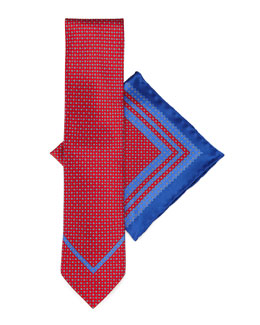 Stefano Ricci Silk Tie & Pocket Square Set, Red