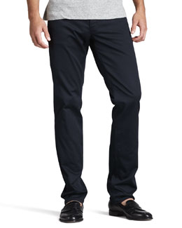 Theory Slim Five-Pocket Twill Pants, Eclipse Navy