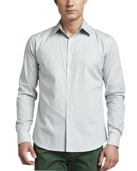 Check Sport Shirt, Light Gray