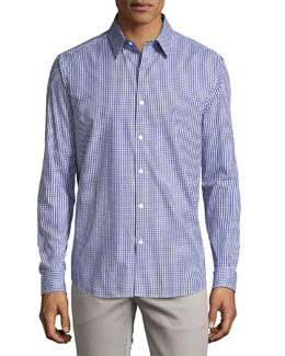 Theory Check Sport Shirt, Navy