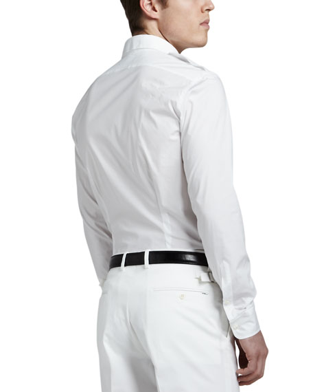 Two-Pocket Military Shirt, White