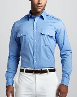 Two-Pocket Military Shirt, RL Black
