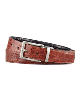 "W.Kleinberg 1 1/8"" Reversible Crocodile Belt"
