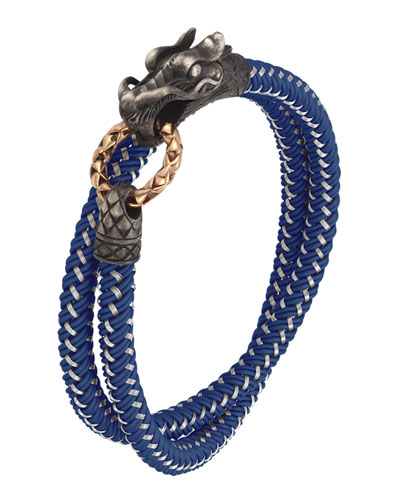 John Hardy Naga Nylon Cord Wrap Bracelet, Blue