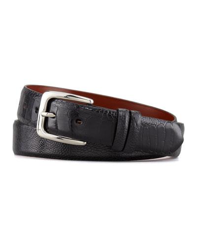 """W.Kleinberg 1 1/4"""" Ostrich Leg Belt, Black"""