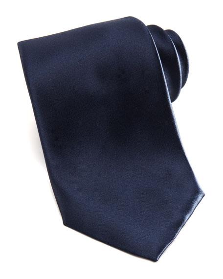 Solid Satin Tie, Navy