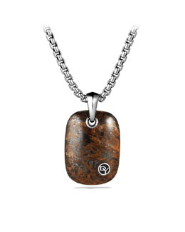 David Yurman Exotic Stone Tablet with Bronzite on Chain