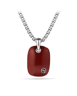 David Yurman Exotic Stone Tablet with Red Jasper on Chain