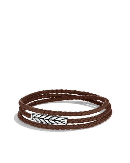 Chevron Triple-Wrap Bracelet in Brown