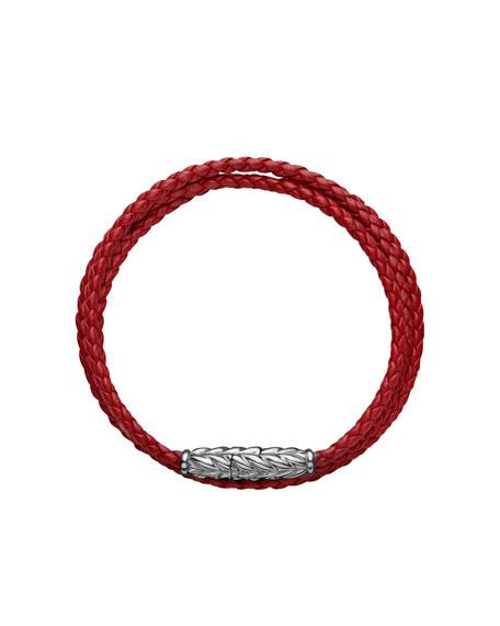 Chevron™ Wrap Bracelet, Red Leather