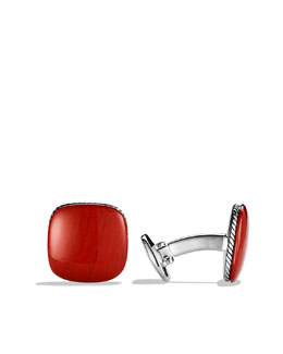 David Yurman Streamline Cuff Links with Red Jasper