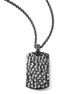 John Hardy Blackened Palu Tag Necklace
