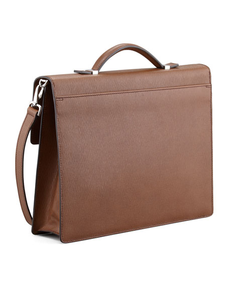 Revival One-Gusset Briefcase, Saddle