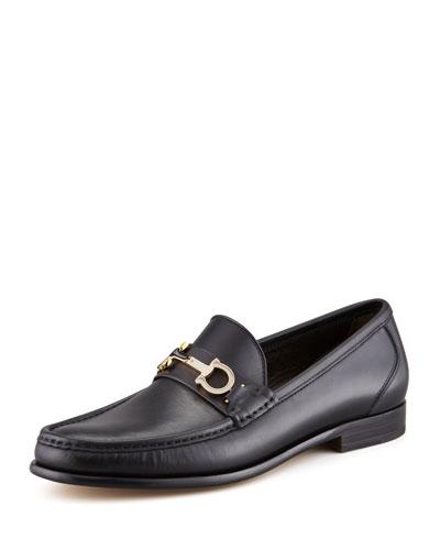 Salvatore Ferragamo Twirl Rotating Bit Leather Loafer, Black