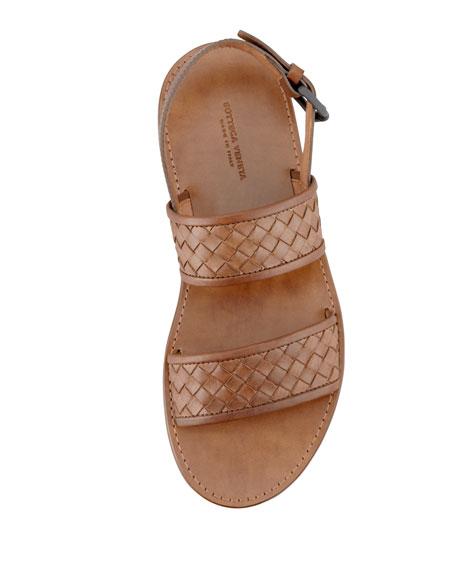 Woven Two-Strap Sandal, Brown