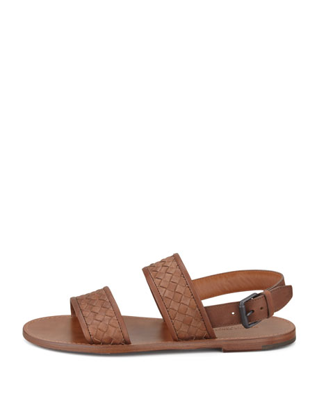 Woven Two-Strap Sandal, Brown