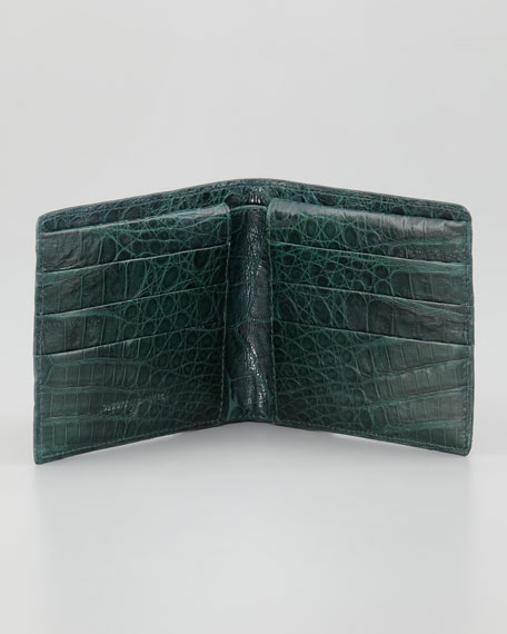 Crocodile Bi-Fold Wallet, Hunter Green