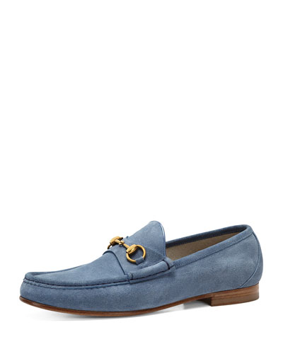 Gucci Roos Suede Bit Loafer, Sky Blue
