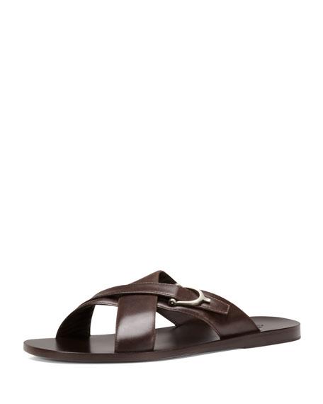 Karel Leather Crisscross Slide Sandal