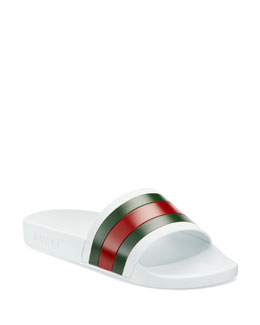 Gucci Pursuit '72 Rubber Slide Sandal, White