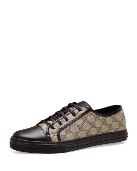 California GG PU Fabric Low-Top Sneaker, Beige/Black