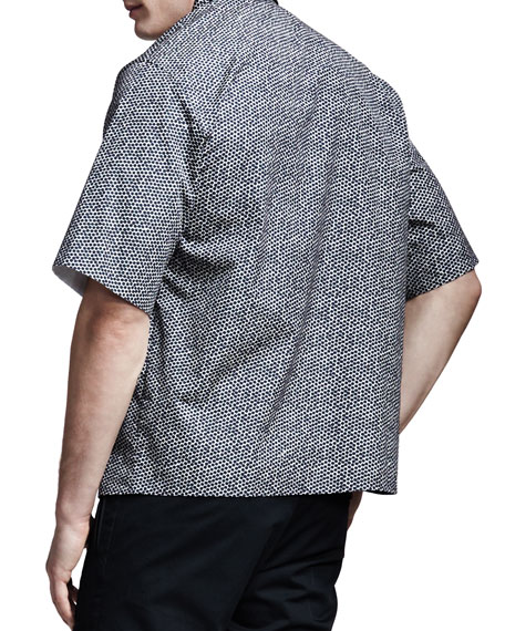Hexagon-Print Short-Sleeve Shirt