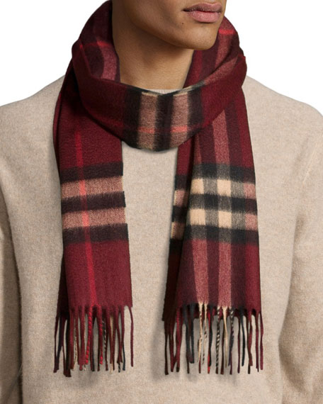 Men's Cashmere Giant Icon Scarf, Deep Claret