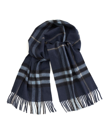Check Cashmere Scarf, Blue Carbon