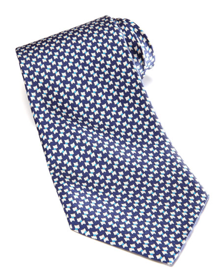 Mini-Schnauzer Silk Tie, Navy