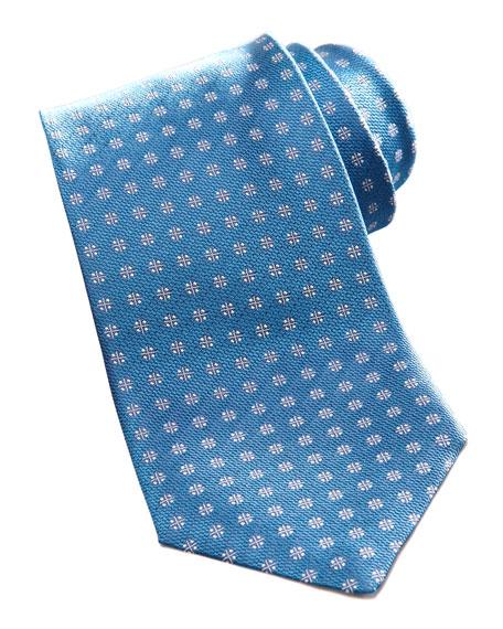 Woven Flower Jacquard Tie, Blue