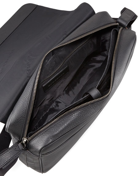 Check-Embossed Leather Messenger Bag