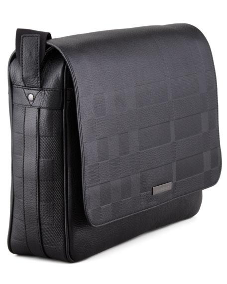 Check-Embossed Leather Messenger Bag
