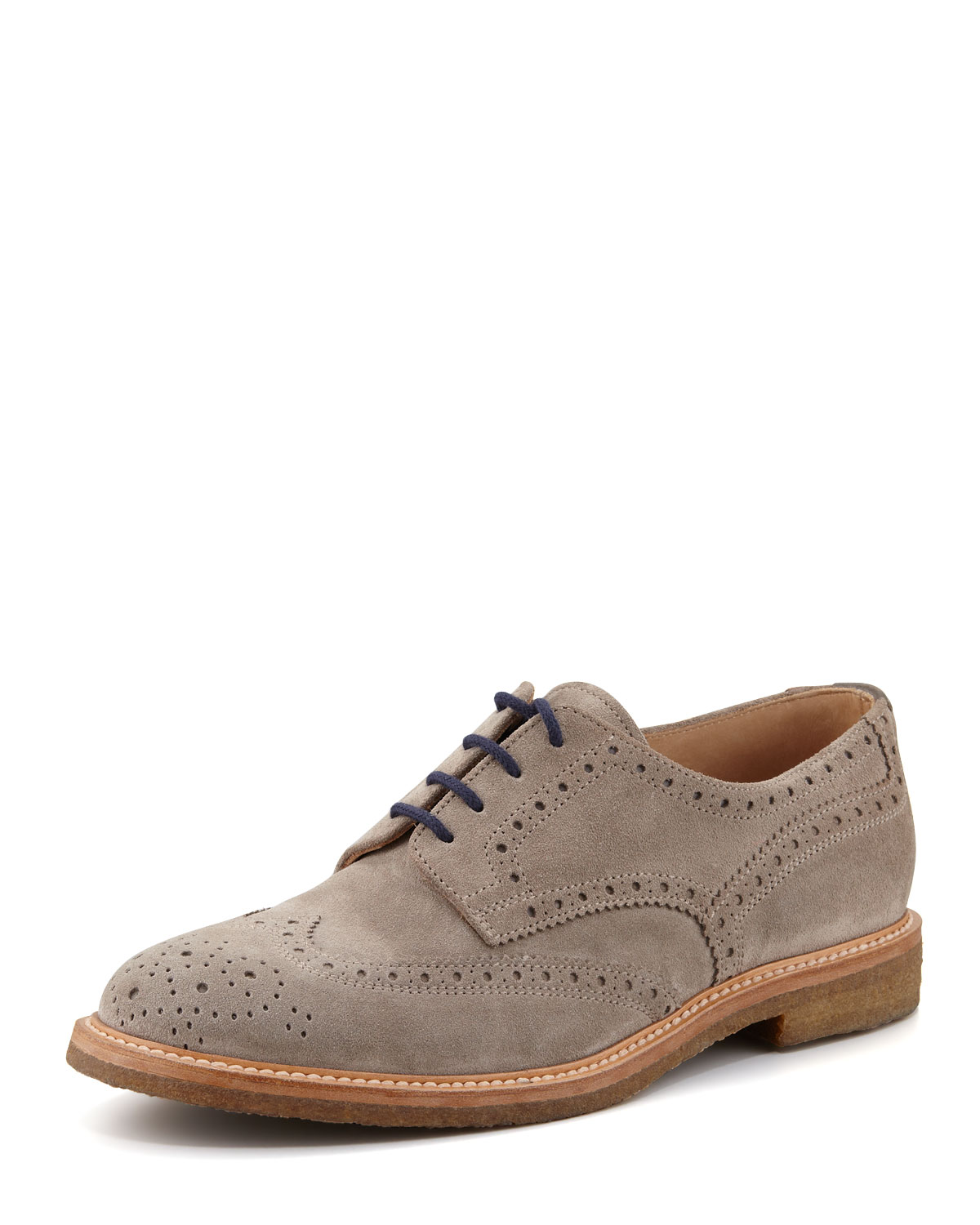 Brunello Cucinelli Crepe-Sole Suede Wing-Tip, Gray