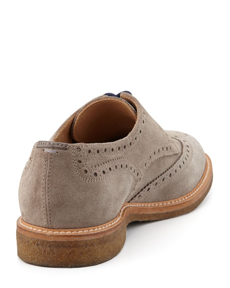 Crepe-Sole Suede Wing-Tip, Gray