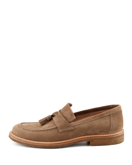 Suede Tassel Loafer, Tan