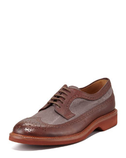 Brunello Cucinelli Two-Tone Canvas/Leather Lace-Up Wing-Tip