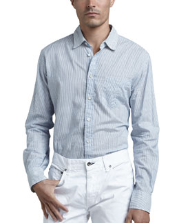 Rag & Bone Yokohama Striped Sport Shirt, Blue