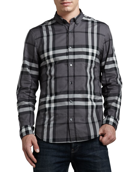 Check Button-Down Shirt, Charcoal