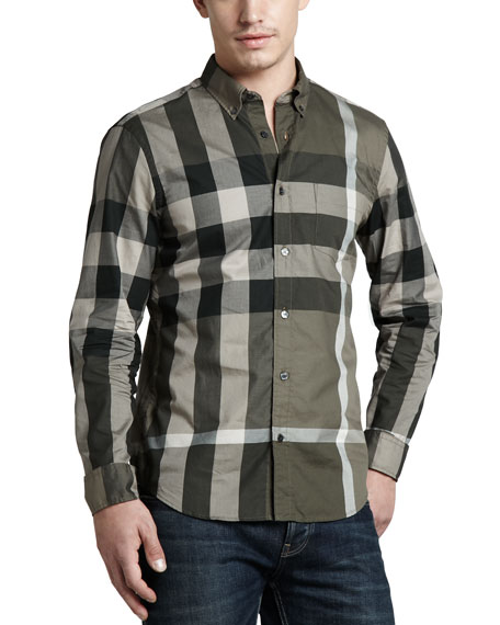 Large-Check Sport Shirt, Pebble
