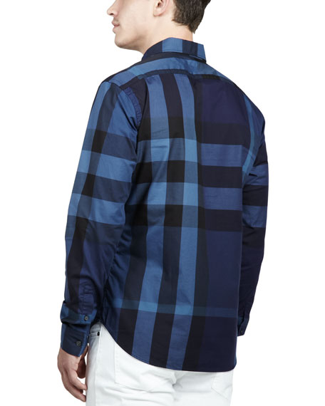 Large-Check Sport Shirt, Navy