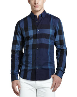 Burberry Brit Large-Check Sport Shirt, Navy